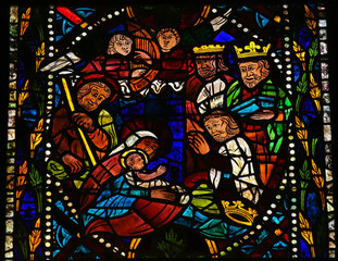 Nativity Scene - stained glass - Christmas