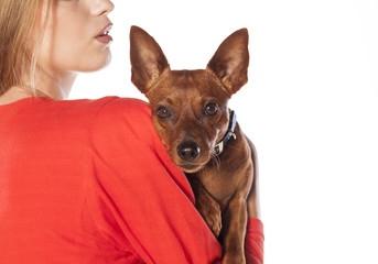 red pincer leans on the shoulder of his owner