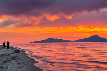 Sunset over sea in Greece
