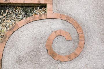 Tile brick curve shape with cement floor