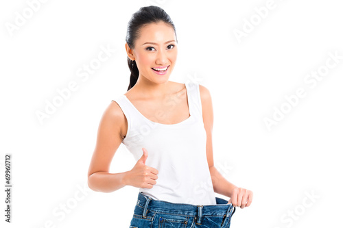 canvas print picture Asian Chinese woman losing weight with diet