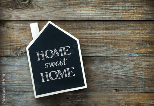 House Shaped Chalkboard sign Home sweet Home on rustic wood - 69961166