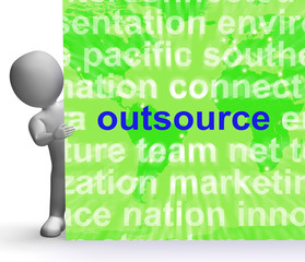 Outsource Word Cloud Sign Shows Subcontract And Freelance