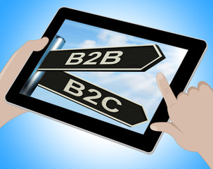 B2B B2C Tablet Means Business Partnership And Relationship With