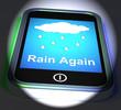 Rain Again On Phone Displays Wet  Miserable Weather