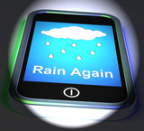 Rain Again On Phone Displays Wet  Miserable Weather poster