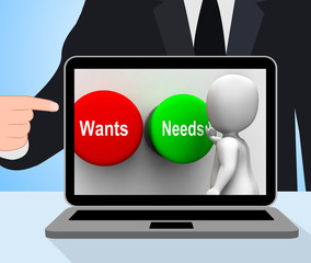 Wants Needs Buttons Displays Materialism Happy Life Balance