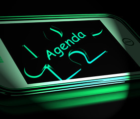 Agenda Smartphone Displays Internet Calendar And Schedule