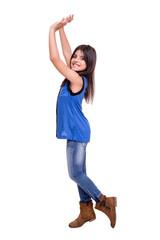 Girl raising hands