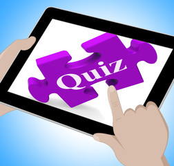 Quiz Tablet Means Internet Question And Answer Game