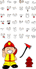 firefighter kid cartoon set8