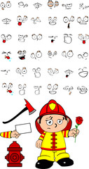 firefighter kid cartoon set with a rose