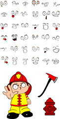 firefighter kid cartoon set angry stop