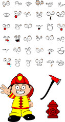 firefighter kid cartoon set