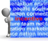 Incentive Word Cloud Sign Shows Bonus Inducement Reward poster