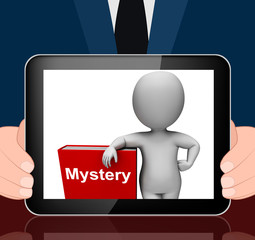 Mystery Book And Character Displays Fiction Genre Or Puzzle To S