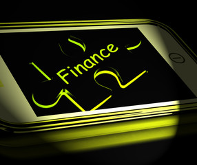 Finance Smartphone Displays Credit And Loan Money