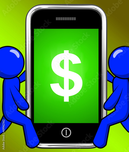 canvas print picture Dollar Sign On Phone Displays $ Currency