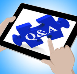 Q&A Tablet Shows Site Questions Answers And Information