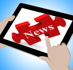 News Tablet Means Web Headlines Or Bulletin