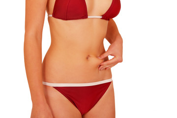 Stomach cellulite, woman torso self-examination