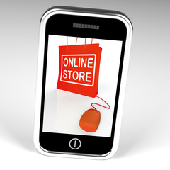 Online Store Bag Displays Shopping and Buying From Internet Stor