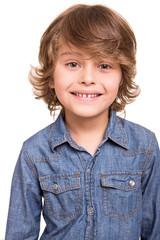 Kid posing over white