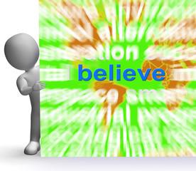 Believe Word Cloud Sign Shows Accepting Idea Faith Trust