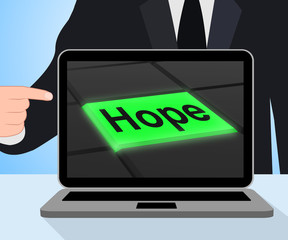 Hope Button Displays Hoping Hopeful Wishing Or Wishful