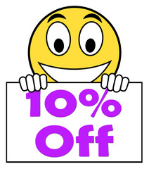 Ten Percent Sign Shows Sale Discount Or 10 Off