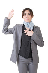 business woman give you a gesture of swear