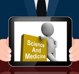 Science And Medicine Book With Character Displays Medical Resear
