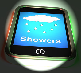 Showers On Phone Displays Rain Rainy Weather