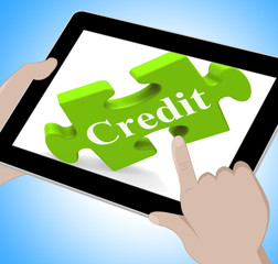 Credit Tablet Shows Borrowing Cash Or Money