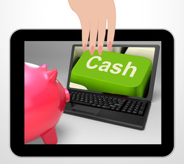 Cash Key Displays Online Finances Earnings And Savings