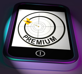 Premium Smartphone Displays Excellent Goods Or Services On Inter