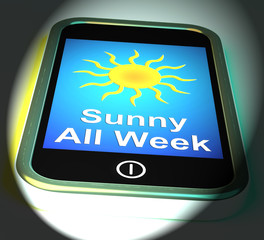 Sunny All Week On Phone Displays Hot Weather