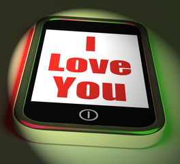 I Love You On Phone Displays Adore Romance