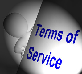 Terms Of Service Sign Displays User And Provider Agreement