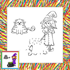 Funny cartoon witch dot to dot