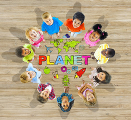 Group of Children in Circle with Planet Message