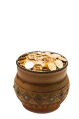 pot with golden coins, isolated on white