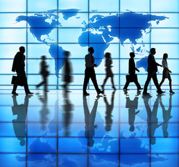 Side View Photo Of Silhouettes Of Business People Walking Indoor
