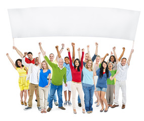 People With Their Arms Raised Isolated