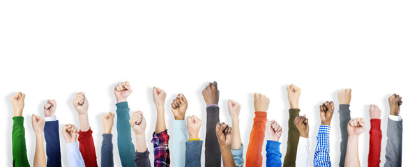Group of Diverse People's Clenched Fists