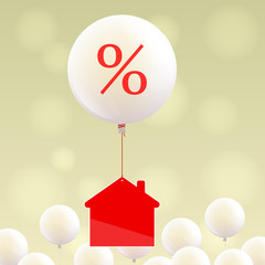 House icon and balloon with percent sign