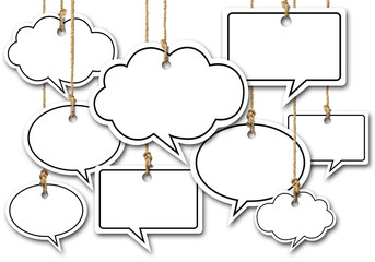Speech Bubbles Hanging on White background