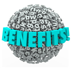 Benefits Rewards Compensation Word 3d Letters Ball Sphere