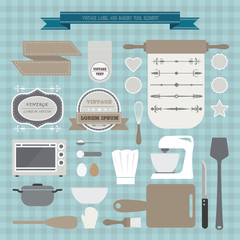 vintage label and bakery tools element, vector created
