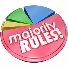 Majority Rules Words Pie Chart Election Favorite Most Votes Wins